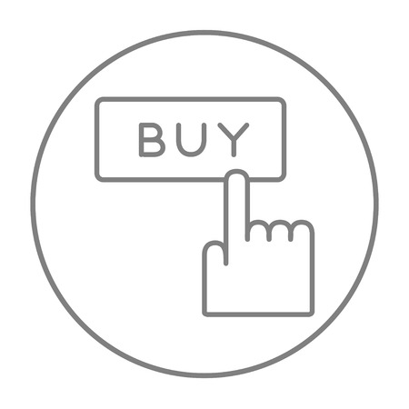 e commerce icon: Buy button with hand line icon for web, mobile and infographics. Vector grey thin line icon in the circle isolated on white background.