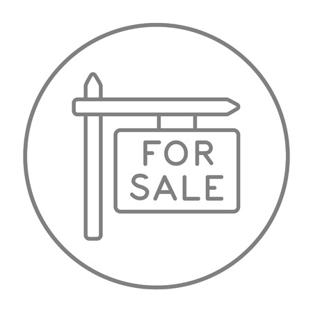 sell out: For sale signboard line icon for web, mobile and infographics. Vector grey thin line icon in the circle isolated on white background. Illustration