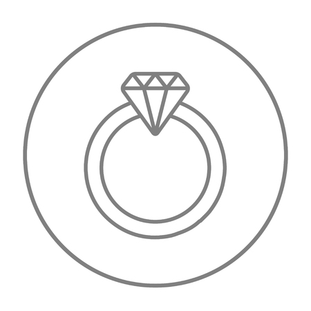 Diamond ring line icon for web, mobile and infographics. Vector grey thin line icon in the circle isolated on white background. Ilustrace