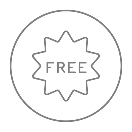 freebie: Free tag line icon for web, mobile and infographics. Vector grey thin line icon in the circle isolated on white background.