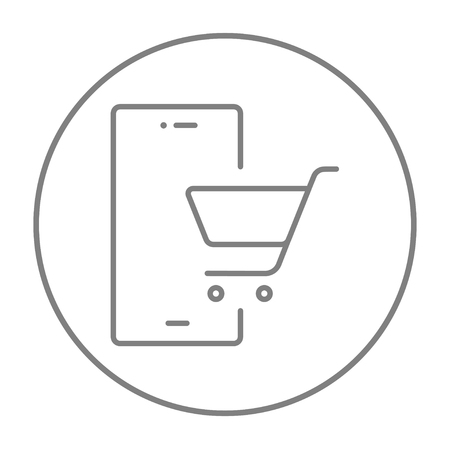 technology transaction: Mobile phone with shopping cart on a screen line icon for web, mobile and infographics. Vector grey thin line icon in the circle isolated on white background. Illustration