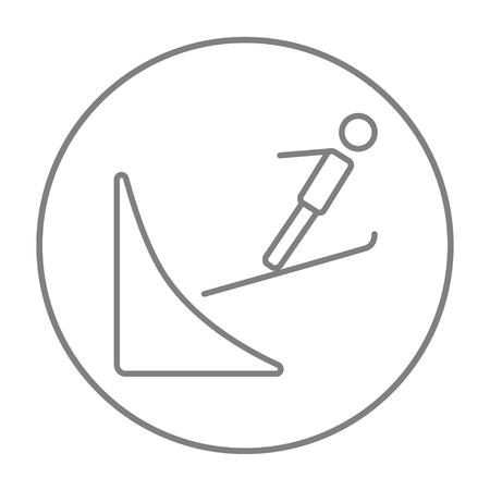 Ski icône de la ligne de saut pour le web, le mobile et infographies. Vecteur gris mince ligne icône dans le cercle isolé sur fond blanc. Banque d'images - 51366614