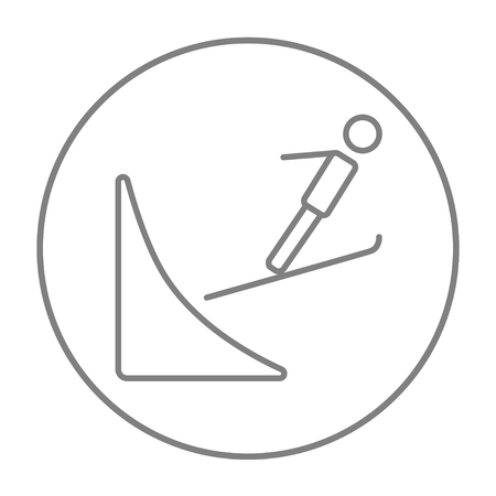 ski jump: Ski jumping line icon for web, mobile and infographics. Vector grey thin line icon in the circle isolated on white background.
