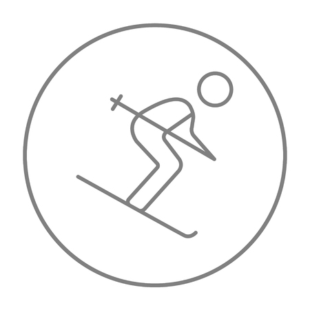 downhill skiing: Downhill skiing line icon for web, mobile and infographics. Vector grey thin line icon in the circle isolated on white background.