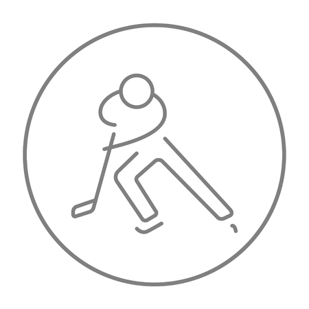 skating on thin ice: Hockey player line icon for web, mobile and infographics. Vector grey thin line icon in the circle isolated on white background.
