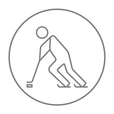Hockey player line icon for web, mobile and infographics. Vector grey thin line icon in the circle isolated on white background.