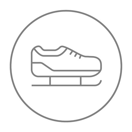 Skate line icon for web, mobile and infographics. Vector grey thin line icon in the circle isolated on white background.