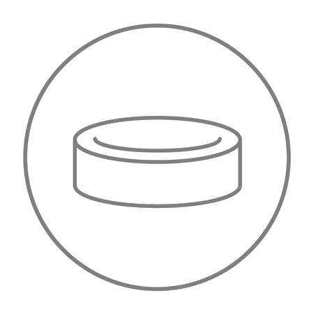 skating on thin ice: Hockey puck line icon for web, mobile and infographics. Vector grey thin line icon in the circle isolated on white background.