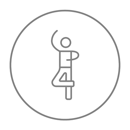male figure: Male figure skater line icon for web, mobile and infographics. Vector grey thin line icon in the circle isolated on white background.