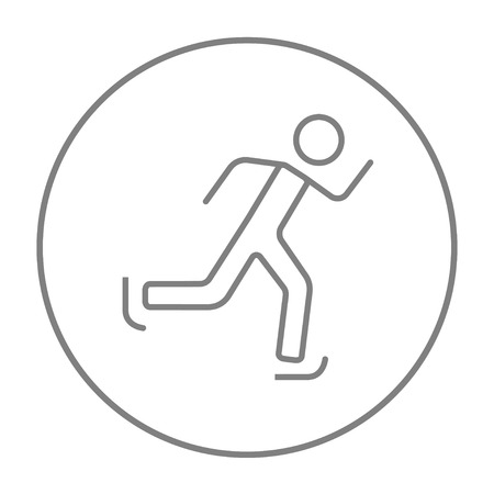 skating on thin ice: Speed skating line icon for web, mobile and infographics. Vector grey thin line icon in the circle isolated on white background. Illustration