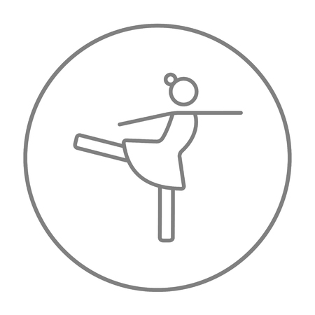 skating on thin ice: Female figure skater line icon for web, mobile and infographics. Vector grey thin line icon in the circle isolated on white background.