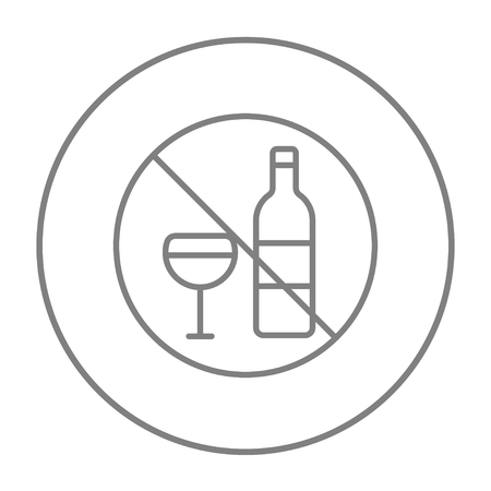 spirituous: No alcohol sign line icon for web, mobile and infographics. Vector grey thin line icon in the circle isolated on white background. Illustration