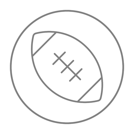 gridiron: Rugby football ball line icon for web, mobile and infographics. Vector grey thin line icon in the circle isolated on white background.