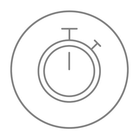 Stopwatch line icon for web, mobile and infographics. Vector grey thin line icon in the circle isolated on white background. Imagens - 51390595