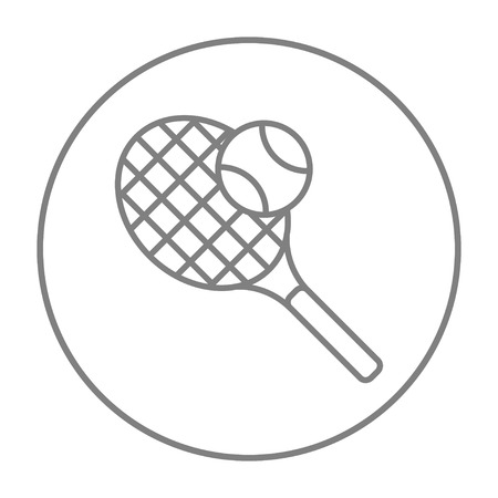 Tennis racket and ball line icon for web, mobile and infographics. Vector grey thin line icon in the circle isolated on white background.