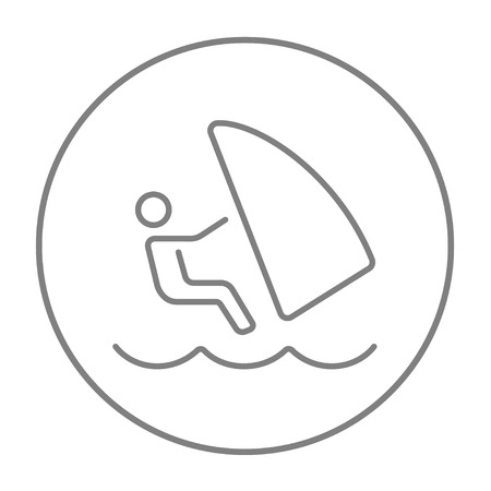 Wind surfing line icon for web, mobile and infographics. Vector grey thin line icon in the circle isolated on white background.