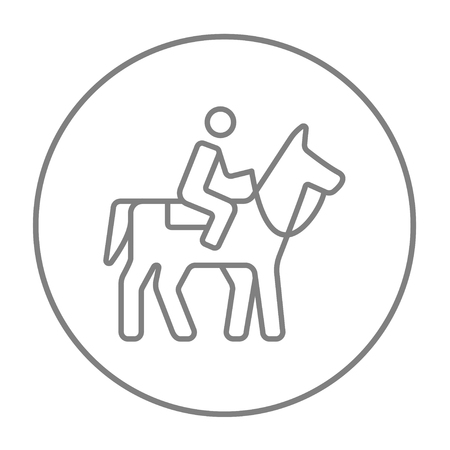 stirrup: Horse riding line icon for web, mobile and infographics. Vector grey thin line icon in the circle isolated on white background. Illustration