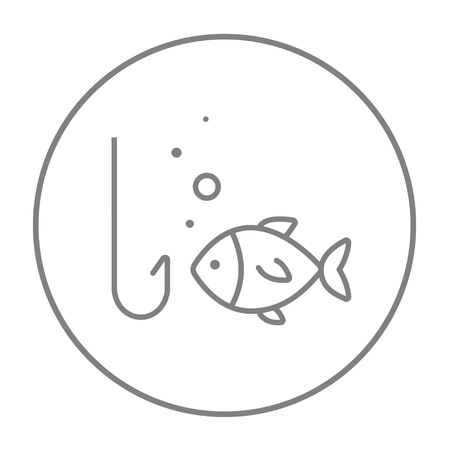 angling: Fish with hook line icon for web, mobile and infographics. Vector grey thin line icon in the circle isolated on white background. Illustration