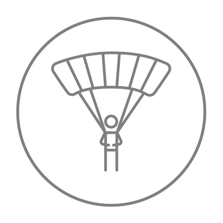 Skydiving line icon for web, mobile and infographics. Vector grey thin line icon in the circle isolated on white background.