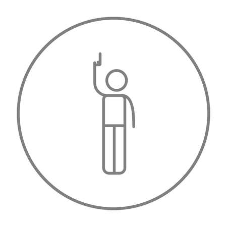 starting line: Man giving a signal with a starting gun line icon for web, mobile and infographics. Vector grey thin line icon in the circle isolated on white background.