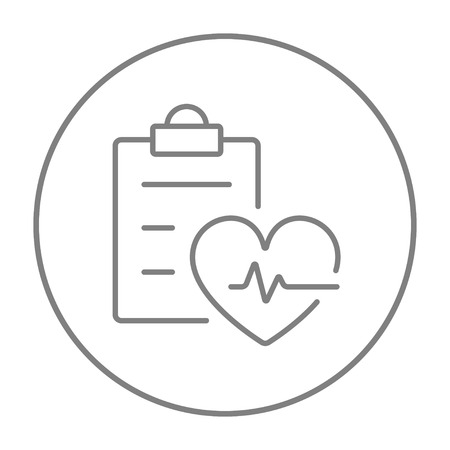 heartbeat line: Heartbeat record line icon for web, mobile and infographics. Vector grey thin line icon in the circle isolated on white background. Illustration