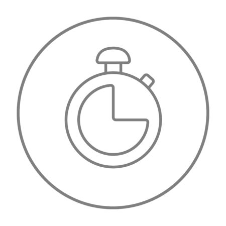 Stopwatch line icon for web, mobile and infographics. Vector grey thin line icon in the circle isolated on white background.