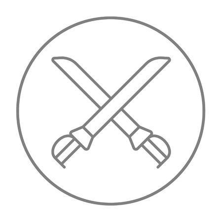saber: Crossed saber line icon for web, mobile and infographics. Vector grey thin line icon in the circle isolated on white background.