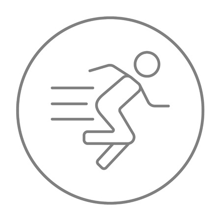 grey line: Running man line icon for web, mobile and infographics. Vector grey thin line icon in the circle isolated on white background.