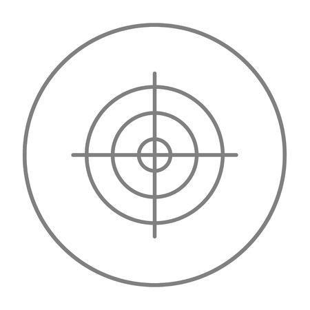 Disparos icono de línea de destino para web, móvil y la infografía. gris del vector icono de línea fina en el círculo aislado en el fondo blanco. Ilustración de vector