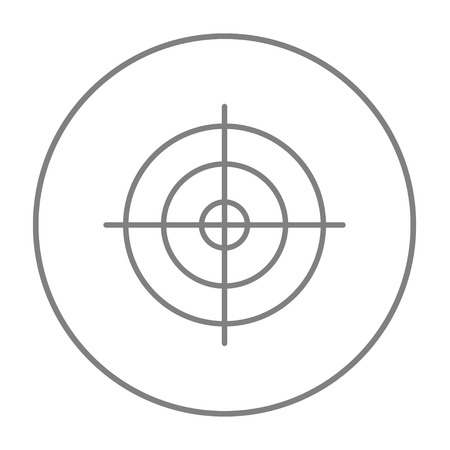 Shooting target line icon for web, mobile and infographics. Vector grey thin line icon in the circle isolated on white background.