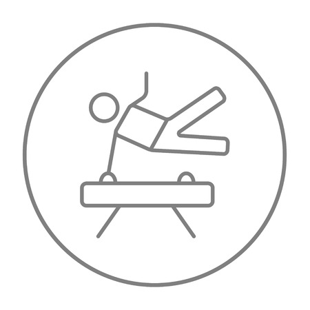 Gymnast exercising on the pommel horse line icon for web, mobile and infographics. Vector grey thin line icon in the circle isolated on white background.