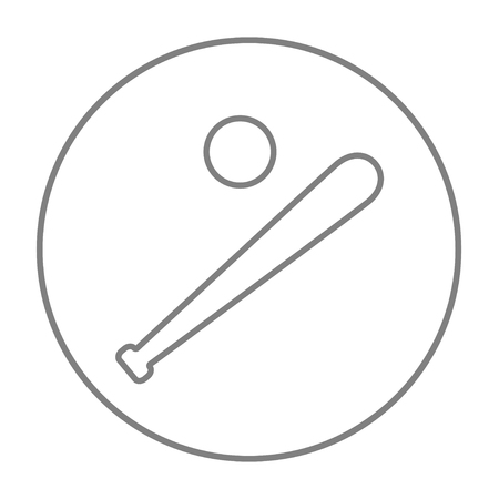 Baseball bat and ball line icon for web, mobile and infographics. Vector grey thin line icon in the circle isolated on white background.