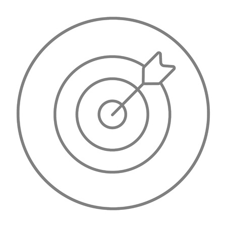 grey: Target board and arrow line icon for web, mobile and infographics. Vector grey thin line icon in the circle isolated on white background.