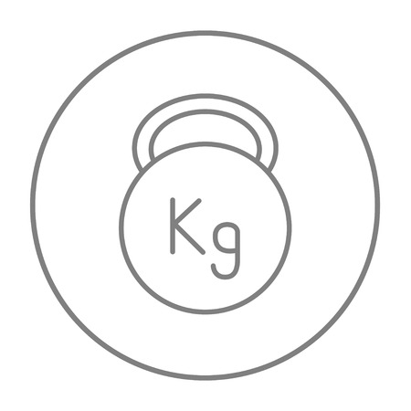 Kettlebell line icon for web, mobile and infographics. Vector grey thin line icon in the circle isolated on white background.