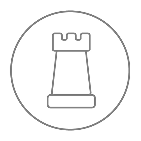 Chess line icon for web, mobile and infographics. Vector grey thin line icon in the circle isolated on white background.