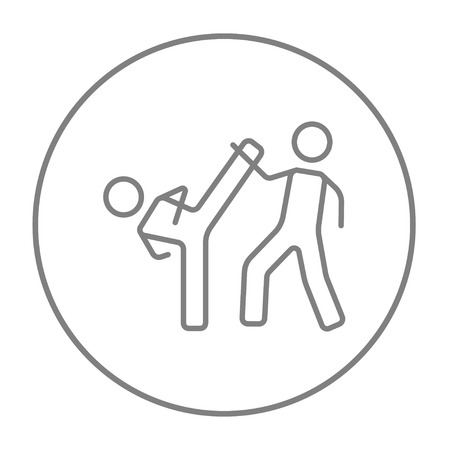 Karate fighters line icon for web, mobile and infographics. Vector grey thin line icon in the circle isolated on white background. Illustration