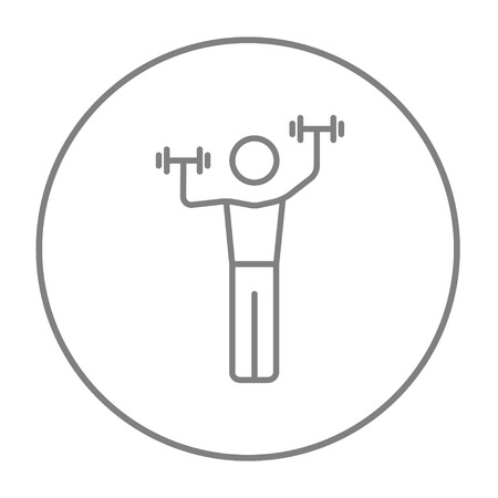 Man exercising with dumbbells line icon for web, mobile and infographics. Vector grey thin line icon in the circle isolated on white background.