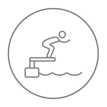diving platform: Swimmer jumping from starting block in pool line icon for web, mobile and infographics. Vector grey thin line icon in the circle isolated on white background. Illustration