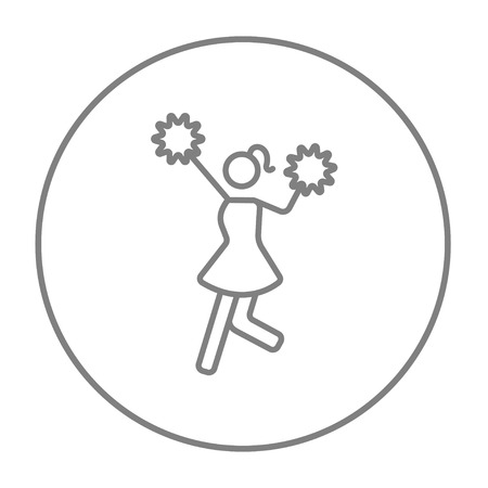 cheer leader: Cheerleader line icon for web, mobile and infographics. Vector grey thin line icon in the circle isolated on white background.