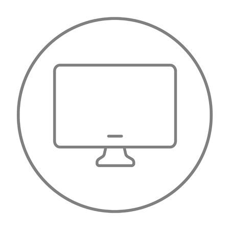pc monitor: Monitor line icon for web, mobile and infographics. Vector grey thin line icon in the circle isolated on white background.