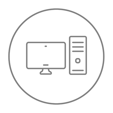 liquid crystal display: CPU and monitor line icon for web, mobile and infographics. Vector grey thin line icon in the circle isolated on white background.