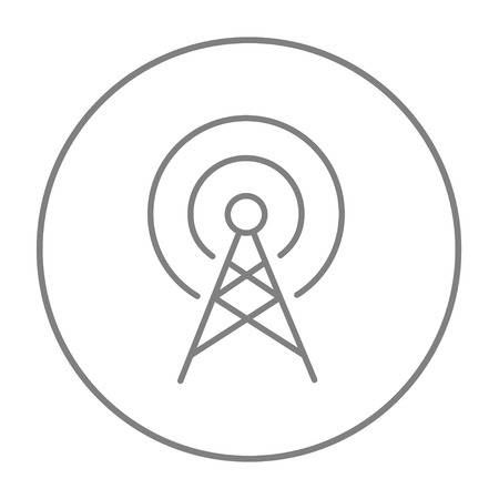 Antenna line icon for web, mobile and infographics. Vector grey thin line icon in the circle isolated on white background.