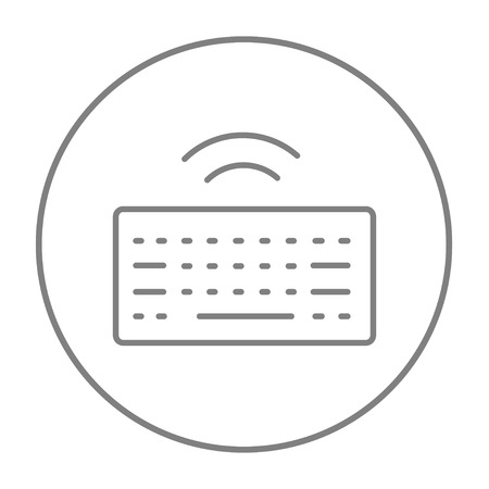 wireless icon: Wireless keyboard line icon for web, mobile and infographics. Vector grey thin line icon in the circle isolated on white background.