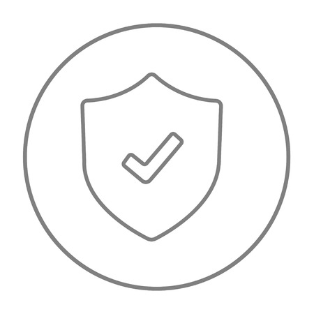 Shield with check mark line icon for web, mobile and infographics. Vector grey thin line icon in the circle isolated on white background.