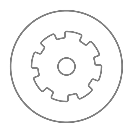 Gear line icon for web, mobile and infographics. Vector grey thin line icon in the circle isolated on white background. Vetores
