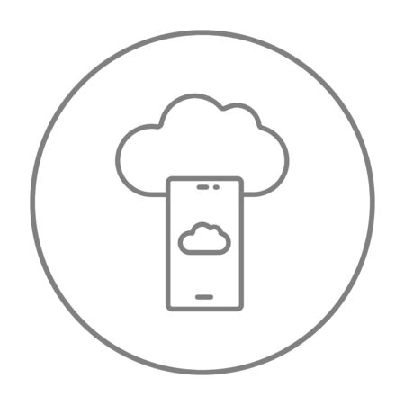 Cloud and smartphone line icon for web, mobile and infographics. Vector grey thin line icon in the circle isolated on white background.