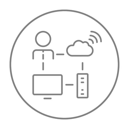 data synchronization: Cloud computing line icon for web, mobile and infographics. Vector grey thin line icon in the circle isolated on white background.