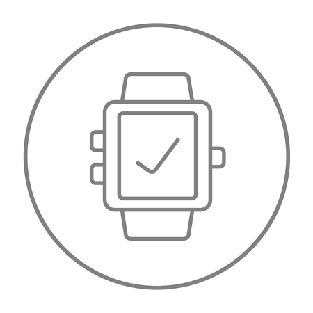 Smartwatch with check sign line icon for web, mobile and infographics. Vector grey thin line icon in the circle isolated on white background.