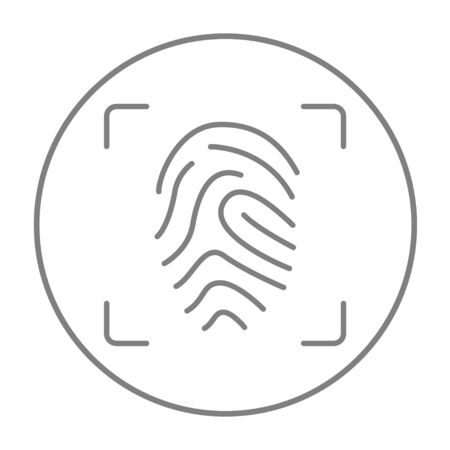scanning: Fingerprint scanning line icon for web, mobile and infographics. Vector grey thin line icon in the circle isolated on white background.