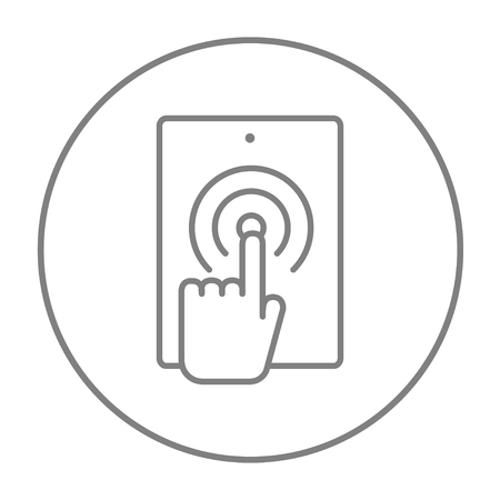 Finger touching digital tablet line icon for web, mobile and infographics. Vector grey thin line icon in the circle isolated on white background.